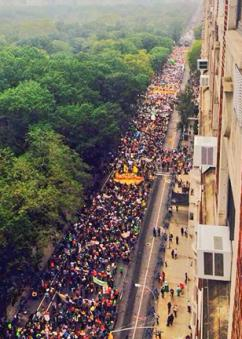 The People's Climate March packed New York City's Central Park West for blocks and blocks. (Libor Von Schönau)